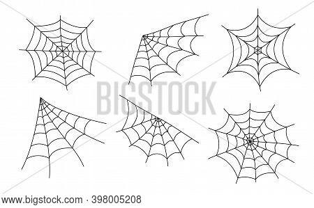 Spider Web Cobweb Vector Icon Doodle, Spiderweb Border Circle Cartoon Net Halloween