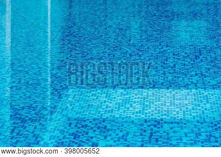 Beautiful Water Surface Texture Top View For Background, Water Transparent Reflection Of Pool Surfac
