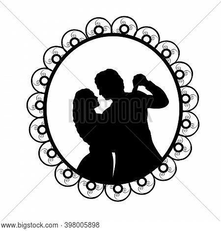 Silhouette In Frame Of Man And Woman In Dance. Illustration Symbol Icon