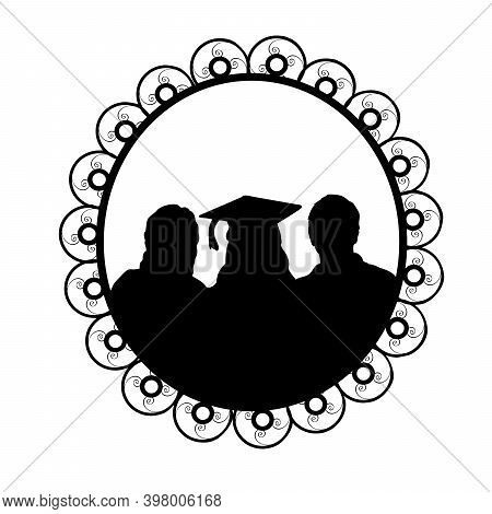 Silhouette In Frame Young Girl Graduate Hugging His Parents. Illustration Symbol Icon