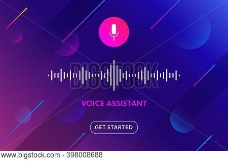 Voice Assistant Soundwave Illustration. Ai Assistant Conversation Sound Tech, Smart Recognition