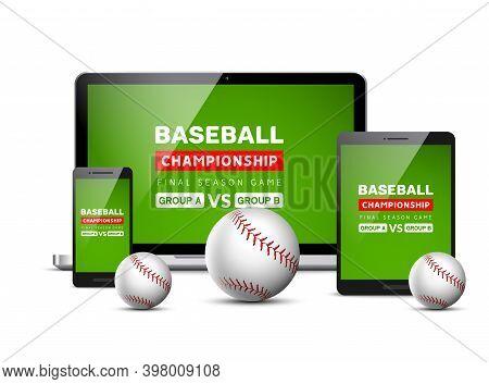 Baseball Flyer Mobile Screen Design Game Tournament. Vector Baseball Sport Digital Score Application