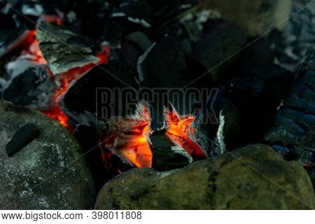 Hot Coals In A Burnt Fire.hot Coals In A Burnt Fire