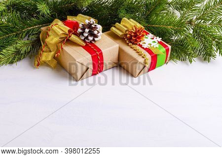 Christmas Decorated Gift Boxes And Fir Branches