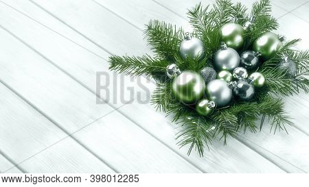 Christmas Decorations With Silver And Green Ornaments