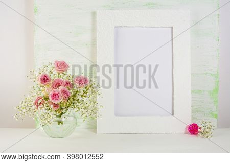 Frame Mockup With Roses In Glass Vase. Frame Mockup. Poster Mockup.