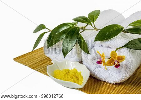 Spa Concept With Yellow Cosmetic Salt. Wellness Concept. Spa Still Life Concept