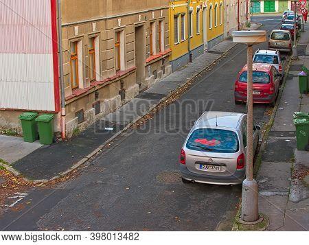 Chomutov, Czech Republic - November 03, 2020: Lidicka Street In Morning