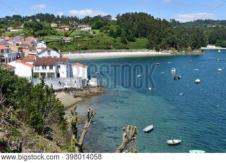 Small Fishing Village With Boats And Beach. Redes, Coruña, Galicia, Spain.