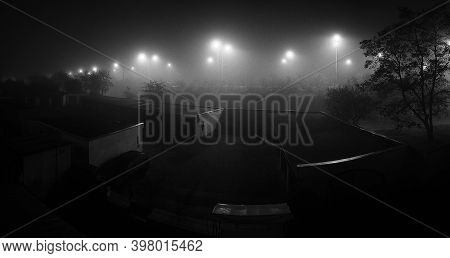 Chomutov, Czech Republic - November 07, 2020: Black And White Foggy Weather In Centre Of City - Anal