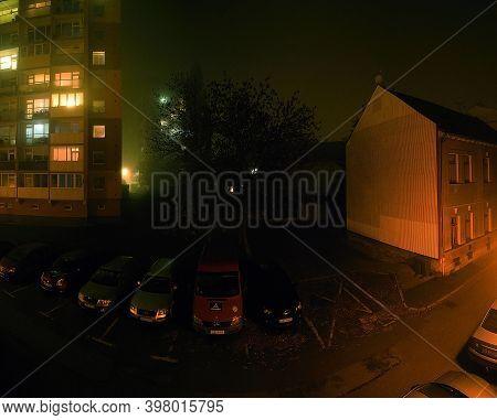 Chomutov, Czech Republic - November 07, 2020: Street In Foggy Night - Analog Noise Texture