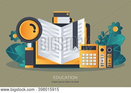 Education, Training, On Line Tutorial, E-learning Concept.knowledge Concept. Flat Vector Illustratio