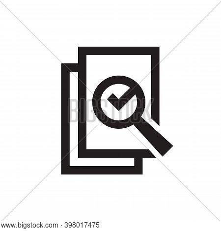 Analyzing Business Document Pages Magnifier Icon Design. Analyze Contract Verify Lens Check Mark Fla