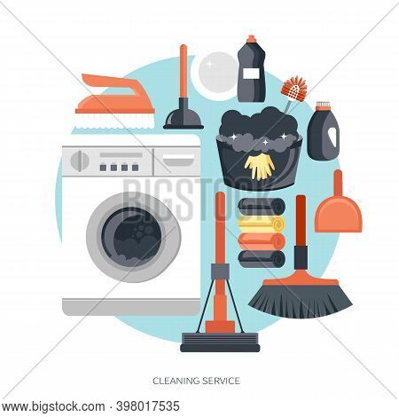 Equipment Cleaning Service Concept. Poster Template For House Cleaning Services With Various Tools.