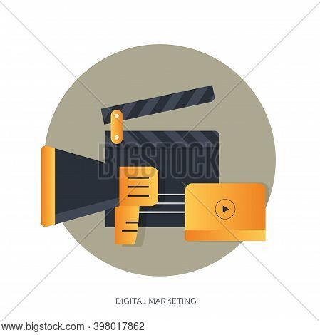 Digital Marketing Concept. Advertising Concept. Flat Vector Illustration.