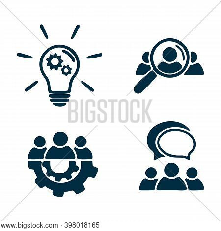 Teamwork Icon Set. Human Resource Icon. People Talking Icon.idea Icon - Lamp Bulb And Gear. Search F