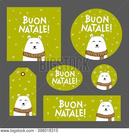 Set Of Christmas Decor With Polar Bear For Italy. Italian Merry Christmas Poster, Card, Sticker, Tag