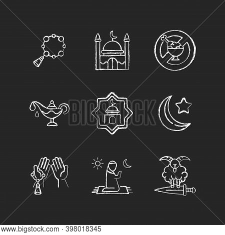 Muslim Religious Traditions Chalk White Icons Set On Black Background. Islam Rosary Thing. Star And