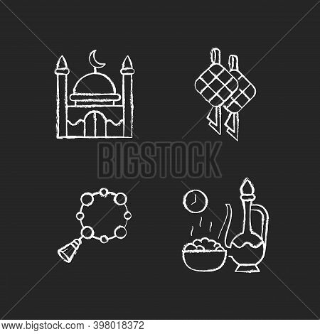 Traditional Religious Muslim Items Chalk White Icons Set On Black Background. National Food Called K