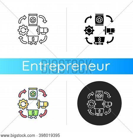 Logistics Icon. Linear Black And Rgb Color Styles. Entrepreneurship Organization, Effective Producti