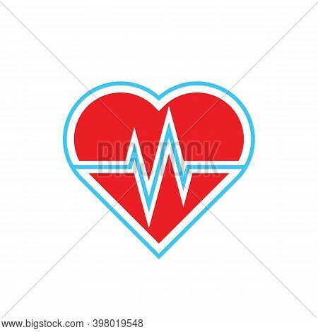 Red Heart And Cardiogram Pulse Line Icon Logo Template Flat Design. Silhouette Of Heart On White Bac