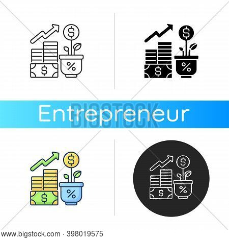Income Increase Icon. Linear Black And Rgb Color Styles. Profitable Business. Growing Entrepreneursh