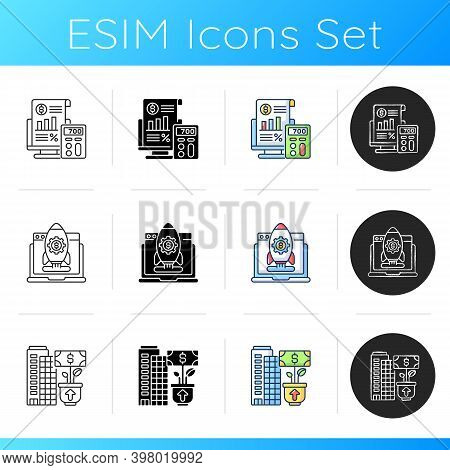 Business Management Icons Set. Linear, Black And Rgb Color Styles. Successful Entrepreneurship. Star