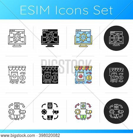 Modern Business Icons Set. Linear, Black And Rgb Color Styles. It Industry, Retail Trading And Logis