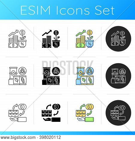 Industrial Business Icons Set. Linear, Black And Rgb Color Styles. Profitable Entrepreneurship. Fina