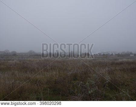 Chomutov, Czech Republic - November 24, 2020: Foggy Autumnal Landscape