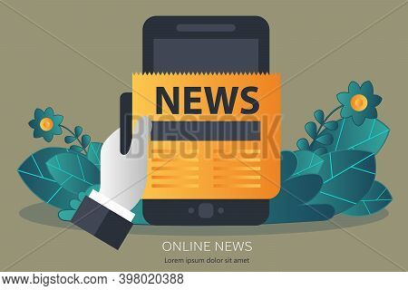 On Line News Concept. Read Newspaper On Your Tablet Or Smart Phone. Flat Vector Illustration