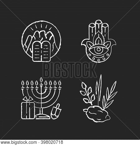Judaism Beliefs Chalk White Icons Set On Black Background. Stone Tablets. Hamsa Hand. Nine-branched