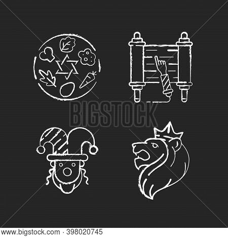 Jewish Religious Symbols Chalk White Icons Set On Black Background. Passover Seder Plate. Torah Scro