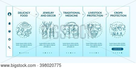 Exotic Animal Abuse Onboarding Vector Template. Delicacy Food. Jewelry And Decor. Traditional Medici