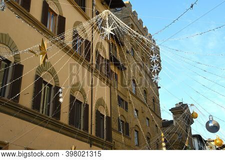 Christmas Decoration In Florence. Via Tornabuoni One Of The Most Famous Street In The Historic Cente