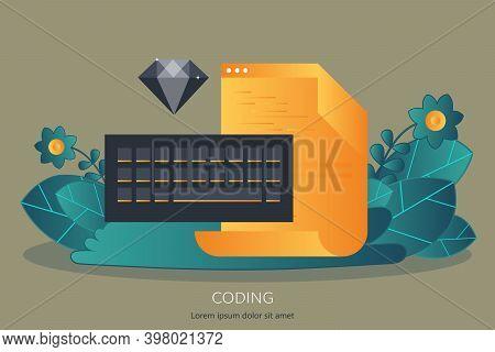 Program Coding. Software Development. Flat Vector Illustration