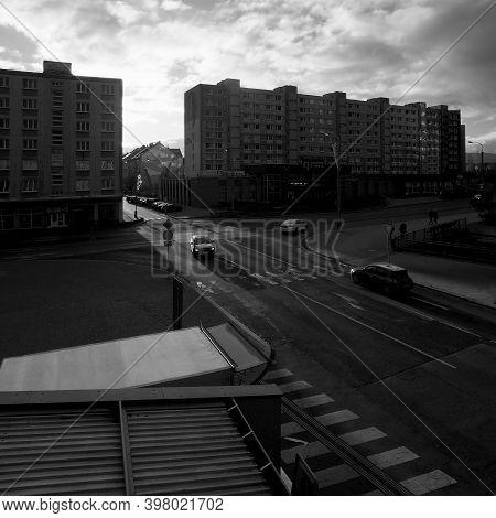 Chomutov, Czech Republic - November 29, 2020, 14:55 - Sunset In Palackeho Street