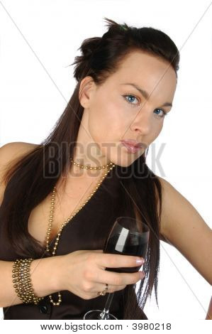 Brunette With A Glass Of Red Wine