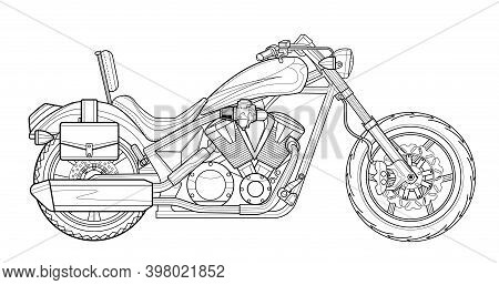 Classic Motorcycle Vector Illustration Coloring Page For Adults For Drawing Books. Line Art Picture.