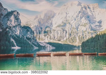 Lago Di Braies. Lake Braies (lago Di Braies) In Dolomites Mountains. Boats On The Braies Lake ( Prag