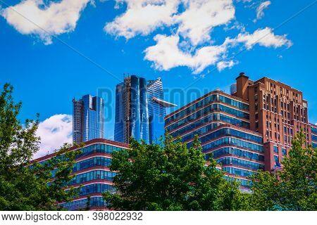 N.y.c, U.s.a, May 2019, View Of The Upper Part Of Some Modern Buildings In The Hudson Yards Neighbor