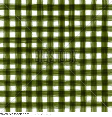 Green Olive White Vintage Checkered Background With Blur, Gradient And Grunge Texture. Classic Check