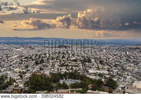 San Francisco Mission District cityscape with stormy sky.