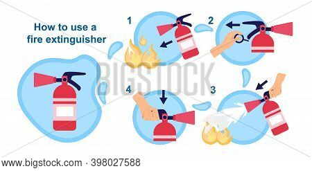 How To Use Fire Extinguisher. Information For The Emergency Case. Idea Of Safety And Protection. Pul