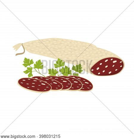 Flat Vector Cartoon Illustration Of Salami Sausage. Meat Delicacy, Slices Of Italian Salami Cured Sa