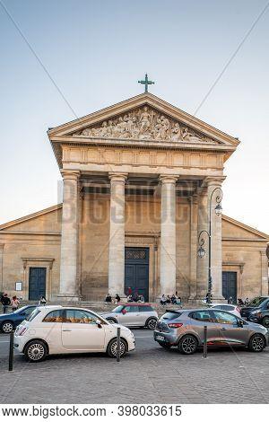 St-german-en-laye, France - Jun 6, 2020: Paroisse Church St Germain In Sunset