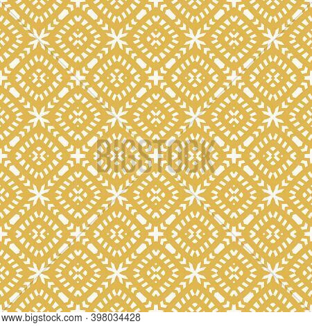 Vector Geometric Seamless Pattern. Abstract Yellow Colored Ethnic Texture With Ornamental Grid, Mesh