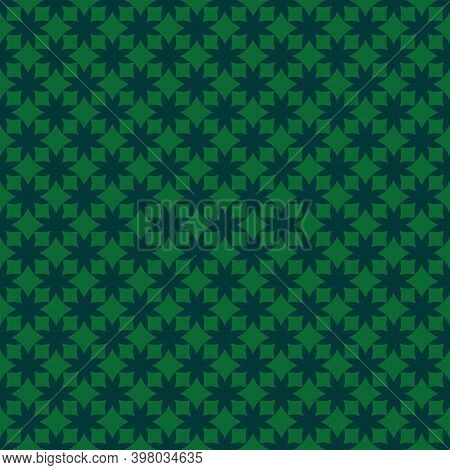 Simple Vector Geometric Seamless Pattern With Small Flower Shapes, Crosses, Grid, Lattice, Rhombuses