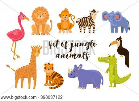 Vector Illustration Set Of Animal Including Flamingo, Lion, Monkey, Zebra, Elephant, Toucan, Crocodi