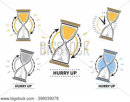 Hourglass Timer Icon Set. Sand Glass Clock Sign. Hurry Up. Concept Countdown, Deadline, Time Managem